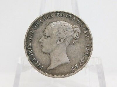 Great Britain 1866 Silver Sixpence Young Queen Victoria Die 23 XF