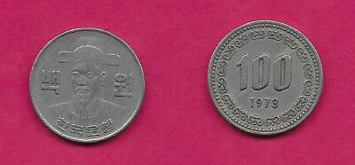 Korea South Rep 100 Won 1973 Vf-Xf Admiral Yi-Sun-Sin,large Bust With Hat Facing