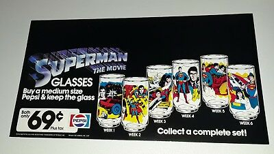 1978 SUPERMAN THE MOVIE PEPSI GLASS Large Counter Display PROMO Header Sign