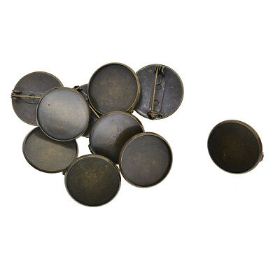 10 bronze blank cabochon brooch base settings 20mm round bezel tray findings