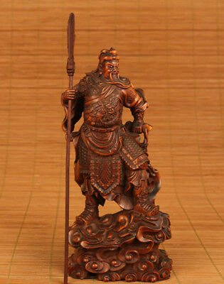 chinese old Boxwood Hand Carved Big Ancient Guangong Statue Feng shui home deco