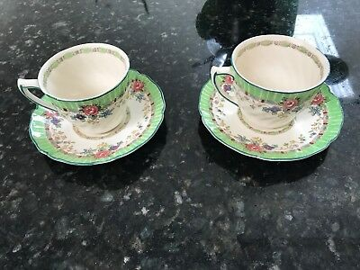 "ROYAL DOULTON ""THE VERNON""- GREEN (c.1930's) COFFEE CUP & SAUCERS VERY RARE"