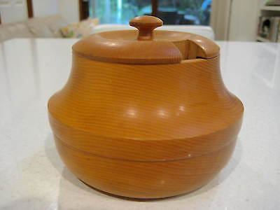 Vintage Handcrafted / HandTurned Huon Pine Sugar Bowl From Tasmania