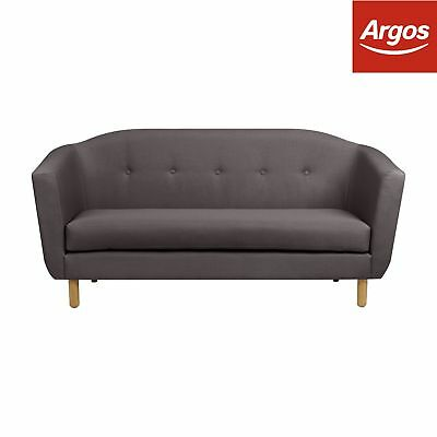 Argos Home Elin 3 Seater Fabric Sofa - Charcoal