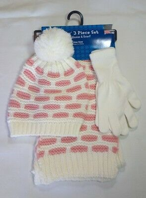 NWT Hat Scarf Gloves-Women's-Christmas Pink White-Knit-3 piece set-Fall Winter