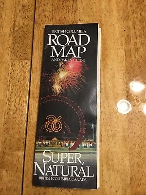 Vintage 1986 British Columbia Road Map and Parks Guide Canada