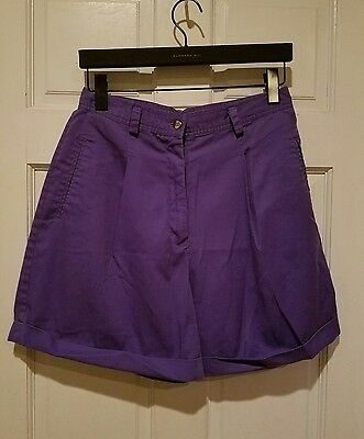 vtg 70s high waist balloon pleated dress shorts purple candy color cotton 13/14