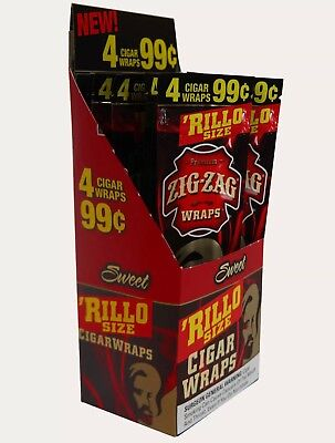 1 BOX ZIG ZAG CIGAR RILLO WRAPS 4 WARPS PACK  TOTAL 60 WRAPS BOX Sweet