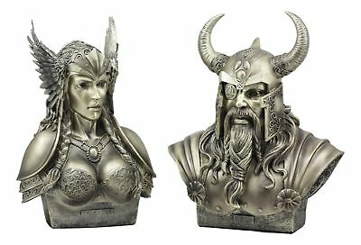 God Odin And Goddess Valkyrie Busts Statue Set 11 Inch Tall Each Collectible