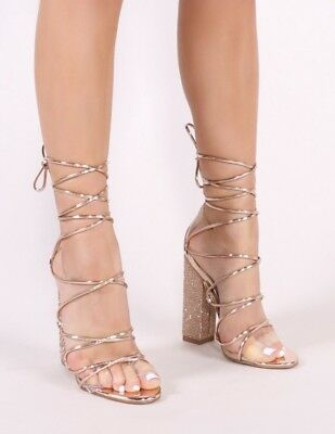 211a623b9c8 PUBLIC DESIRE DIAMANTE Mules with Clear Perspex Heel. Size 6 ...