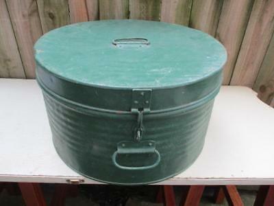 Vintage Round Metal Hat Box Travel Luggage Antique Green Lot#1