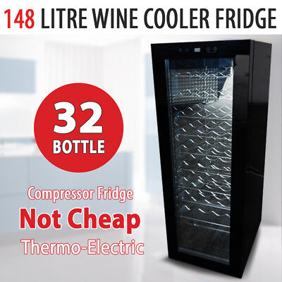 NEW 36 Bottle 148L Wine Cooler Fridge Under Bench Stainless Steel Chiller