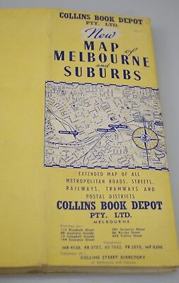 Large Collins Book Old Vintage Wall Map Of Melbourne & Suburbs