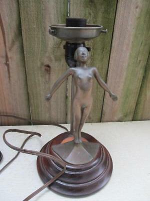Vintage Art Deco Bronze Nude Lady Lamp Base Turned Wood