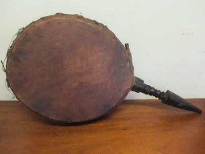 Antique Vintage Asia Pacific Drum Tribal Artifact Png Real Skin Carved Ebony