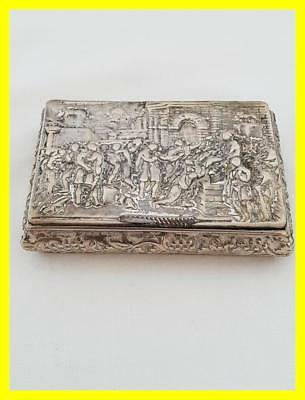 Antique Silver Plated Snuff Box With Figural Scene To Lid, Circa 1880