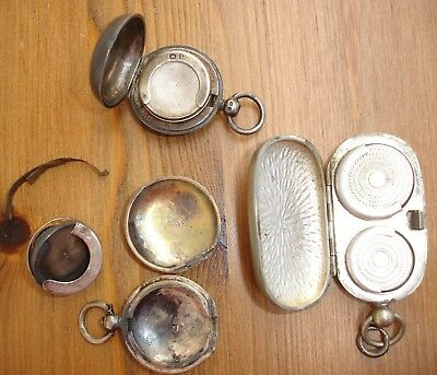1897 Antique Silver Sovereign Case & Double Silver plated Sovereign case + Parts