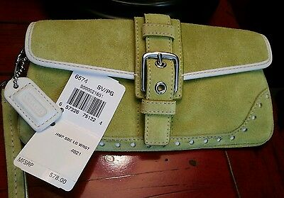 Authentic Coach chartruese suede wristlet NWT