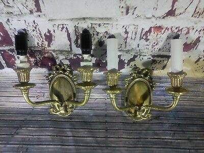Pair Antique Vintage Old Brass Wall Sconce Lights Ornate Decorative Lamp