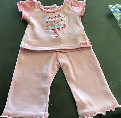 American Girl Doll Sweet treat Cupcake pajamas Pink PJs 18 inch EUC Retired