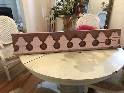 Antique Pediment Header Architectural Salvage Old PINK Paint 44""