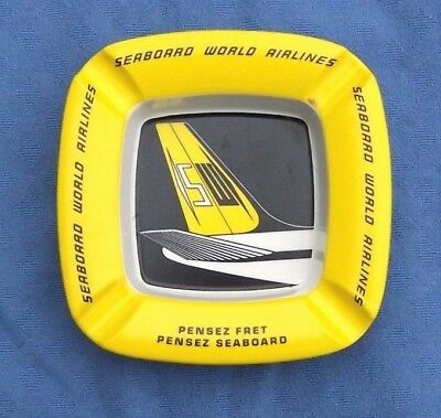 Seabord World Airlines Yellow Ashtray