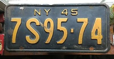 1945 New York NY License Plate nice condition