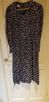 Vintage Midi Dress by Laura Ashley , Navy Blue with Pink Flowers (Size 14)