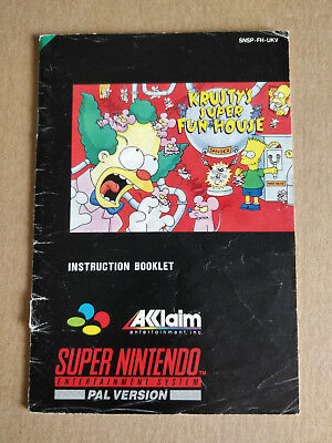 Krusty's Super Fun House - UKV Super NES SNES Instruction Booklet