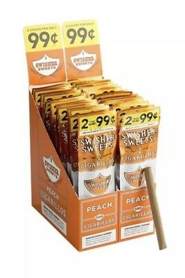 Swisher Sweets Peach 15 Pouches Pks 2 Per Pouch 30 Pcs Total