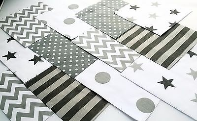 """30 x GREY SILVER Fabric Squares 5"""" inch Patchwork Quilting"""