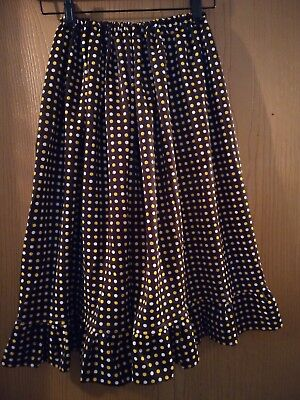 Vinatge early 70's girls skirt home/hand made brown with yellow & white dots