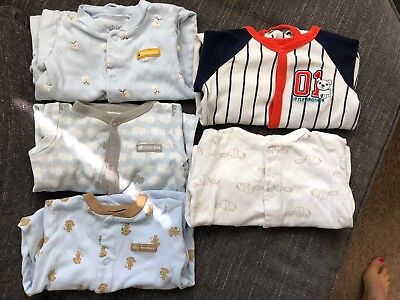 5pcs Baby Boy Infant Child of Mine made by Carter's Pyjamas Buttons - 6-9M