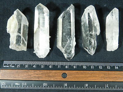 A Lot of FIVE! Nice and 100% Natural Quartz Crystals Found in Arkansas! 154gr e