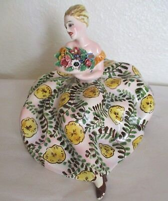 Vintage capodimonte Ceramic figurine Lady in Floral Dress Holding Flowers