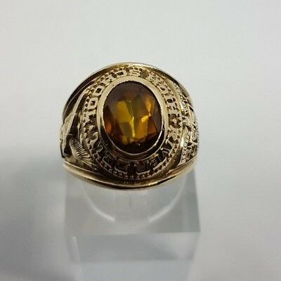 COLLEGE-RING RIVER DELL HIGH SCHOOL, 1967, 416/-10KT. Gelbgold Gr.54