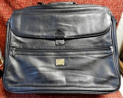Condotti HAND MADE BLACK LEATHER BRIEFCASE-COMPUTER BAG-OVER NIGHT-CARRY ON RARE