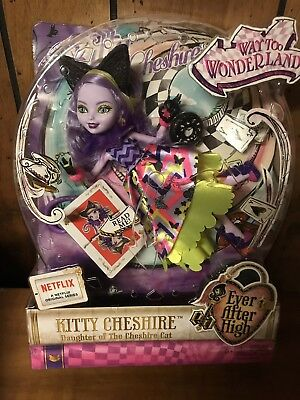 Ever After High Way Too Wonderland Kitty Chesire Doll Beautiful New
