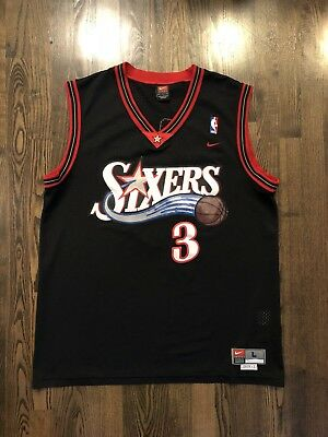 3ad72abf3 Vintage Nike ALLEN IVERSON  3 Philadelphia 76ers Sixers Jersey Size Large  44 L