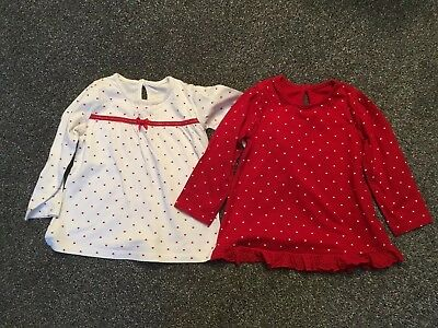 Girls Tops Pack 2 Red 12-18 Months