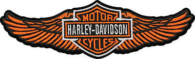 HARLEY DAVIDSON Orange  Straight Wing B&S Large Patch 8 INCH HARLEY PATCH