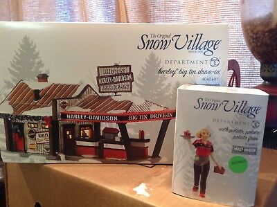 "DEPT 56 SNOW VILLAGE HARLEY-DAVIDSON  ""HARLEY BIG TIN DRIVE-IN"" + Car Hop"