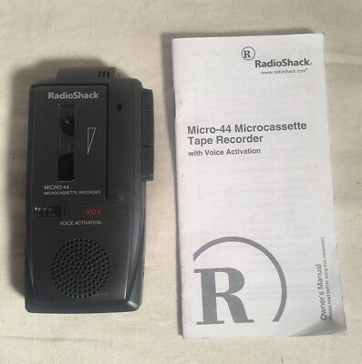 Radio Shack MICRO-44 Micro Cassette dictation voice Recorder 2 speed VOX Works