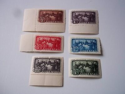 Slovakia stamps, Scott# 77-82.  Mint NH, but 1 stamp has a crease.