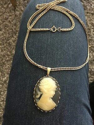 Vintage CAMEO Blue White Celluloid Gold Tone Costume Necklace Jewelry