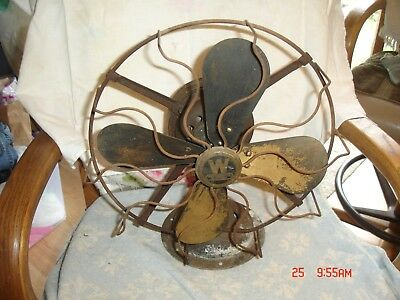 Antique Vintage Electric Westinghouse Fan cast Iron Brass Fan Parts