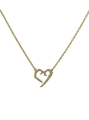 Authentic Sol de Malo 18K Yellow Gold Lightning Heart necklace with 24 diamonds