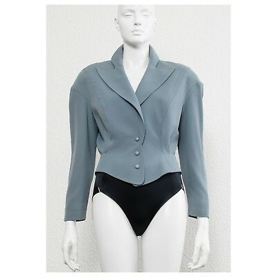 Stunning vintage 80s grey/blue cropped THIERRY MUGLER thunder lapel jacket