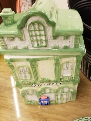 Collectible Ceramic Cookie Jar & Matching Teapot Town Post Office