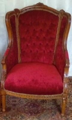 Red velvet carved Louie XV style Bergeres Antique Wingback Armchair MAY SALE!!